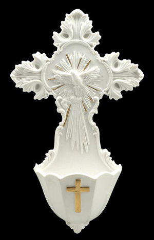 Holy Spirit Cloud Font White With Gold Trim 6""
