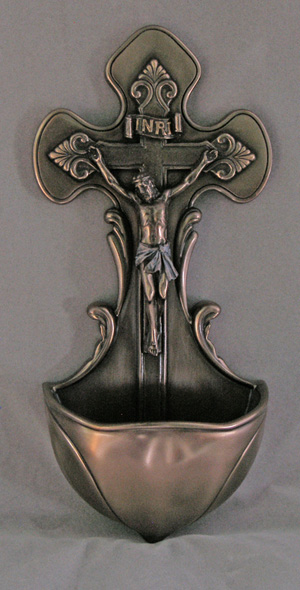 Crucifixion Font Hand-Painted Cold-Cast Bronze 7.5""