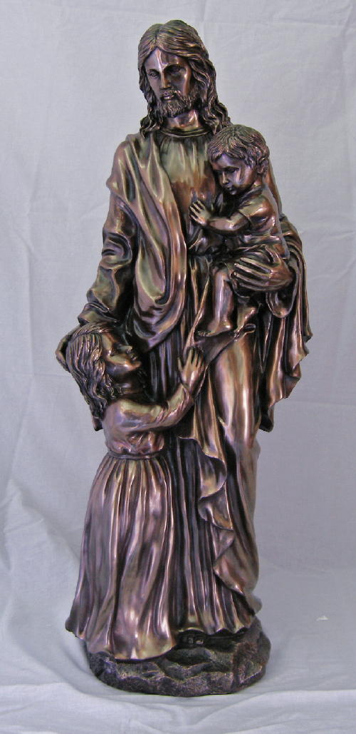 Christ With Children Cold-Cast Bronze 35""