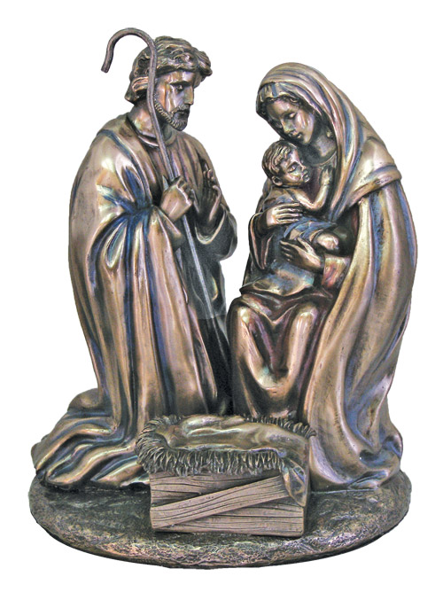 Holy Family Nativity In Cold Cast Bronze 8""