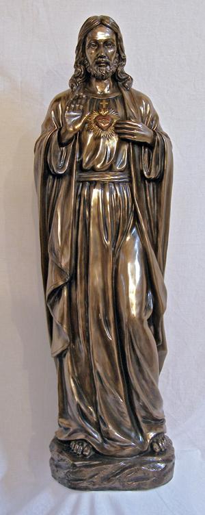 """Sacred Heart Of Jesus Cold Cast Bronze Indoor/Outdoor 40"""""""