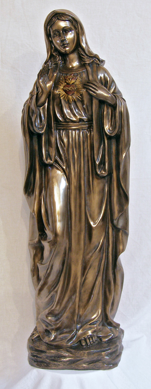 Immaculate Heart Of Mary Cold Cast Bronze Indoor/Outdoor 39""