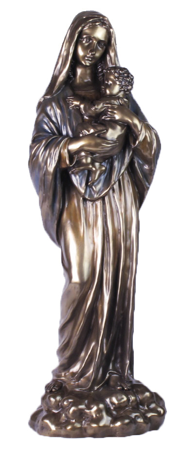 Madonna And Child In Cold Cast Bronze 28""
