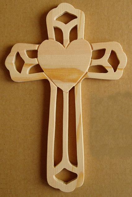"Ornate Wood Cross With Heart Shape 8.75"" Tall"