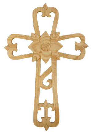 "Ornate Wood Cross With Center Flower 11.75"" Tall"