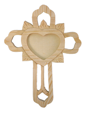 "Ornate Wood Cross With Heart Shape Photo Insert 8.5"" Tall"