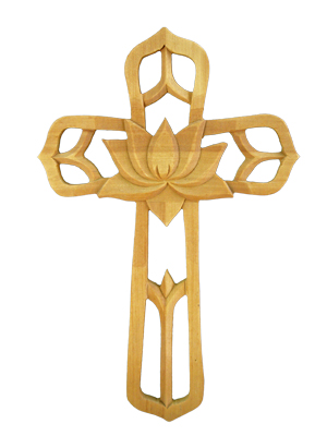"Ornate Wood Cross With Center Flower 8.75"" Tall"