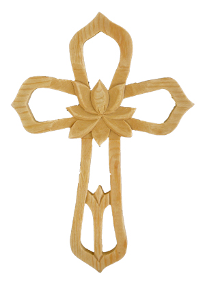 "Ornate Wood Cross With Center Flower 7.75"" Tall"