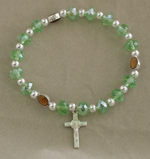 Miraculous Medal In Green Elastic Bracelet With Cross