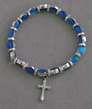 Miraculous Medal In Blue With Silver Elastic Bracelet With Cross