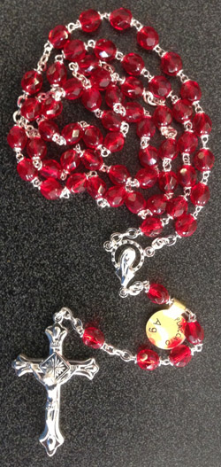 Ruby Crystal Rosary 6Mm Bead Separate Box 17.5""
