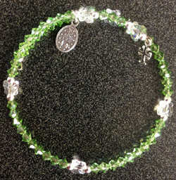 Swarovski Peridot Silver Bracelet With Miraculous Medal/Cross