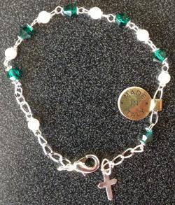 "Swarovski Emerald Crystal Bracelet With Cross 7.5"""