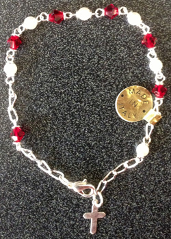 "Swarovski Garnet Crystal Bracelet With Cross 7.5"""