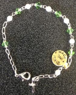 """Swarovski Peridot Crystal Bracelet With Cross 7.5"""""""