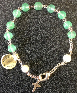 Jade Bracelet With Cross Silver Plated 7""