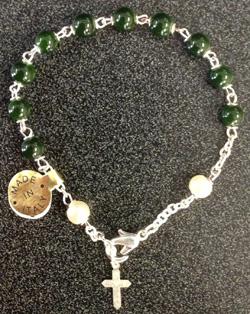 """Peridot Bracelet With Cross Silver Platedd 7"""""""