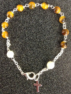 Tigers Eye Bracelet With Cross Silver Plated 7""