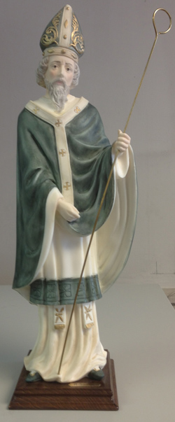 St.Patrick Hand-Painted Alabaster Wood Base 17.5""