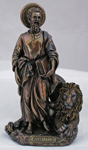 "St. Mark With The Lion Cold Cast Bronze 8"" ."