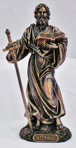 St. Paul Lightly Hand-Painted Cold Cast Bronze 8""