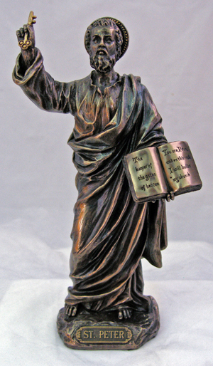 St.Peter Lightly Hand-Painted Cold Cast Bronze 8""