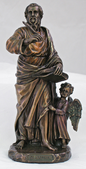 St.Matthew Lightly Hand-Painted Cold Cast Bronze 8""