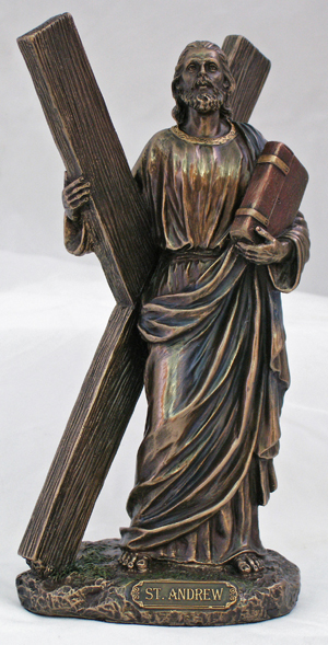 St.Andrew Lightly Hand-Painted Cold Cast Bronze 8""