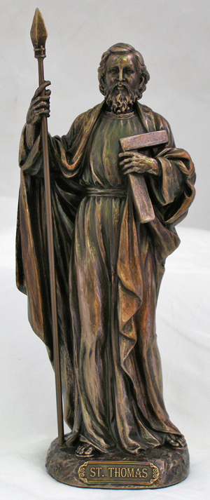 St.Thomas Lightly Hand-Painted Cold Cast Bronze 8""