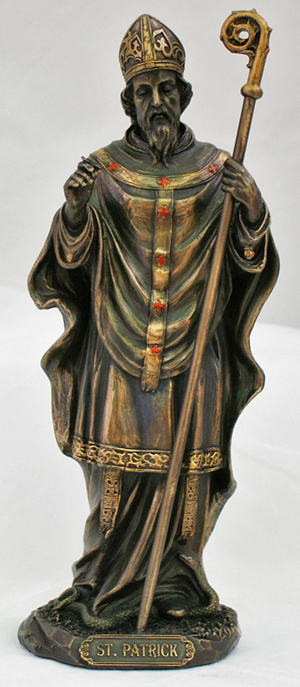 """St.Patrick Lightly Hand-Painted Cold Cast Bronze 8"""""""