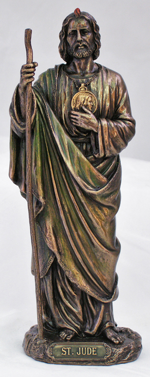 St.Jude Lightly Hand-Painted Cold Cast Bronze 8""