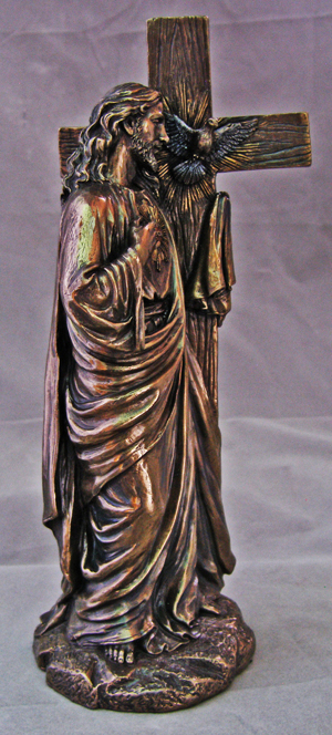Sacred Heart Of Jesus Leaning-Cross- Cold Cast Bronze.11""