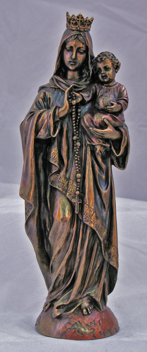Our Lady-Rosary Hand-Painted Cold-Cast Bronze11""