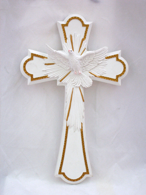 Holy Spirit Cross Lightly Hand-Painted Pastels 8""