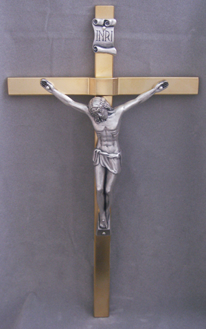 Crucifix With Gold Plated Cross And Silver Plated Corpus 11""