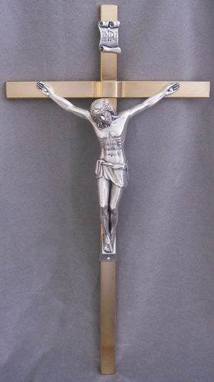 Crucifix With Gold Plated Cross And Silver Plated Corpus 14""