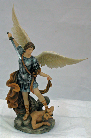 St.Michael Hand-Painted In Full Color With Brown 10""