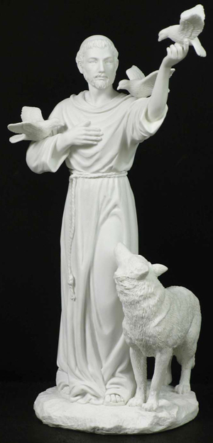 St. Francis With Animals- All White Resin 11""