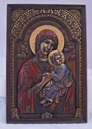 Ol Perpetual Help Plaque Hand-Painted Cold Cast Bronze 6X9""