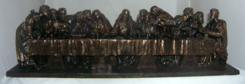 Last Supper- Hand-Painted Cold Cast Bronze 29X7X8""