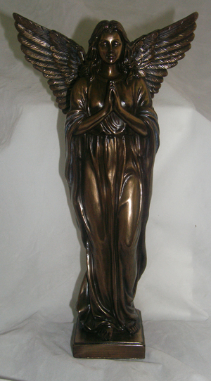 Praying Angel In Cold Cast Bronze 12.5""