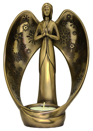 Genesis Modern Snow Angel With Tealight Shiny Cold Cast Bronze 7""