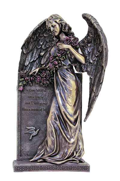 Sorrowful Standing Angelhand-Painted Cold Cast Bronze 10.5""