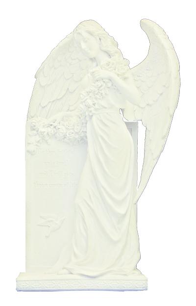 "Sorrowful Standing Angel White Finish 10.5"""