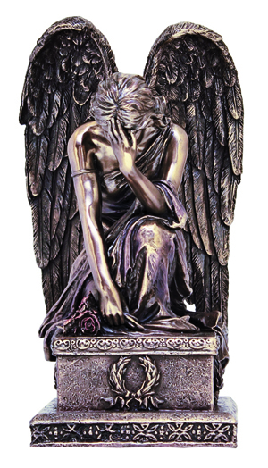 """Sorrowful Kneeling Angel Hand-Painted Cold Cast Bronze 8.5"""""""