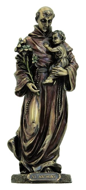 St.Anthony And Child Lightly Hand-Painted Cold Cast Bronze 8""