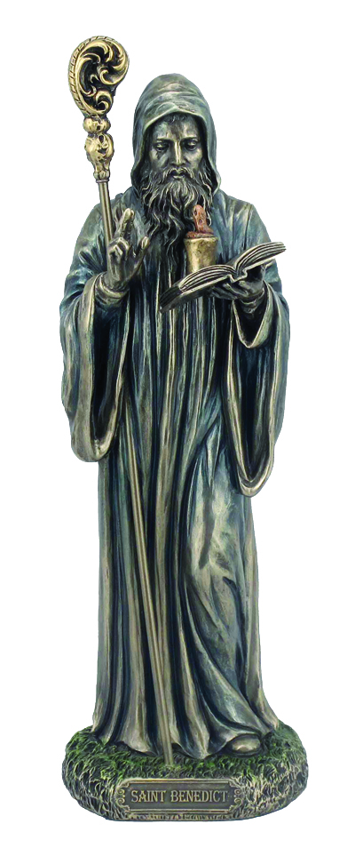 St.Benedict Lightly Hand-Painted Cold Cast Bronze 8""