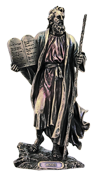 Moses With 10 Commandments Cold Cast Bronze 10""