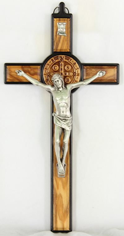 St.Benedict Olive Wood Hanging Crucifixblack Metal Trim 7.5""