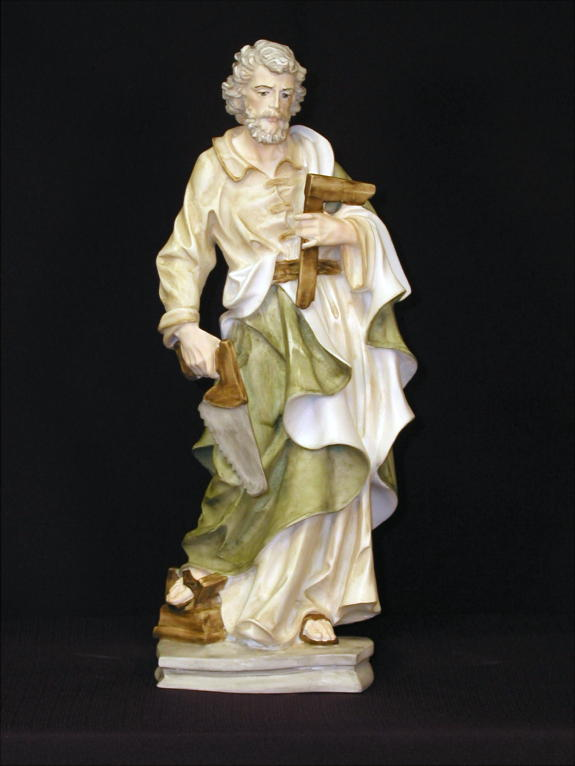 St. Joseph The Worker In Hand-Painted Alabaster 13.5""